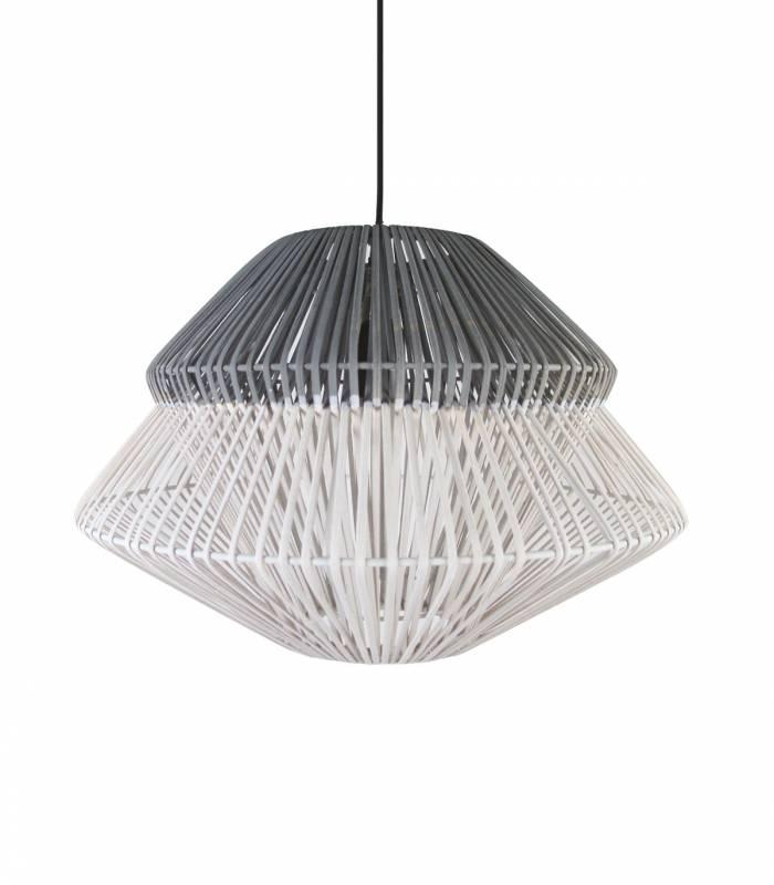 luminaire rotin gris blanc