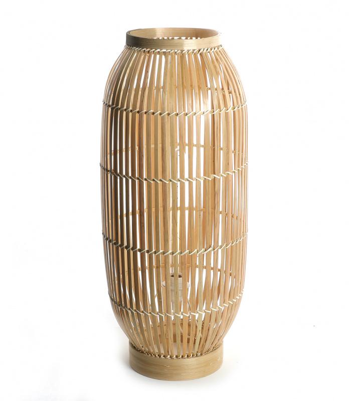 lampe de sol-cocon-bois-bambou